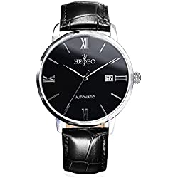 HEOJEO Urban Newmen Wristwatch For Men-Black Leather Stainless Steel Analog Swiss Movement-Black Dial Date Gentlemen Designer Watch HG1205L1A