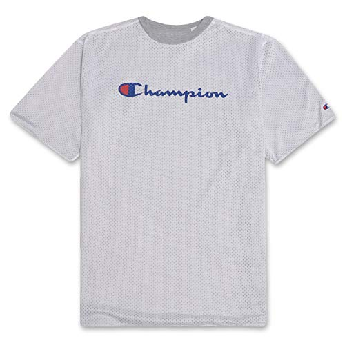 Champion Mens Big and Tall Reversible Mesh Short Sleeve T Shirt with Script Logo White 6X