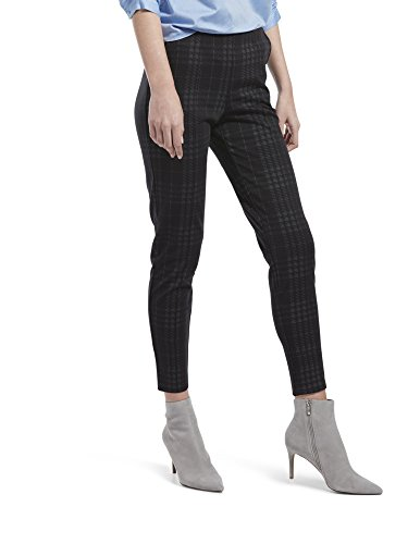 HUE Women's Seamed Luxe Ponte Skimmer Legging, Black - Printed Plaid S ()