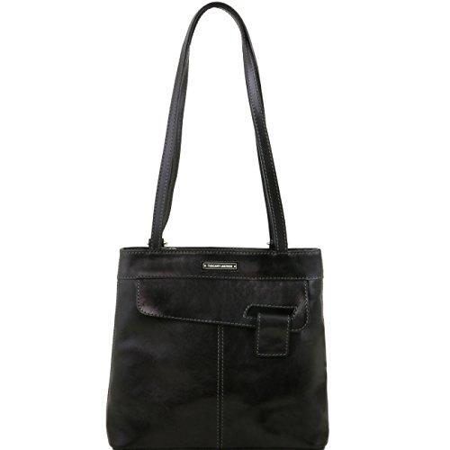 Tuscany Leather Martina Bolso de señora en piel convertible en mochila Marrón oscuro Mochilas en piel Negro