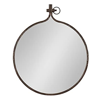 Kate and Laurel Yitro Round Industrial Rustic Metal Framed Wall Mirror, 23.5x28.5, Rustic Metal, Chic Industrial Accent Mirror for Wall - Industrial modern wall mirror: the Yitro wall mirror has a striking look. It's made of a durable rustic metal frame and has interesting industrial detail design paying homage to its decor style. The sawtooth hanger welded on the back makes for a comfortable and secure display on your wall Beautiful accent: an artistic display on its own, this mirror will be an eye-catching part of any home decorating scheme. The modern shape and the smooth metal frame surround the reflective surface, giving off plenty of light and creating depth in the space Contemporary inspired style: with an outside frame of 23.5 x 28.5 inches, the smooth lines and modern shape of the Kate and Laurel - Yitro mirror is a beautiful addition for retro or modern home decor - bathroom-mirrors, bathroom-accessories, bathroom - 41 LHgS0XpL. SS400  -