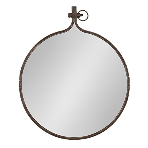 Kate and Laurel Yitro Round Industrial Rustic Metal Framed Wall Mirror, 23.5