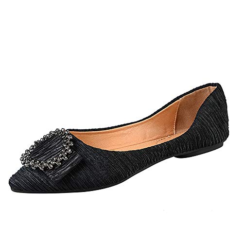 Meeshine Women's Pointy Toe Ballet Flats Comfortable Slip-on Classic Dress Shoes (Classic Buckle-Black US 7)