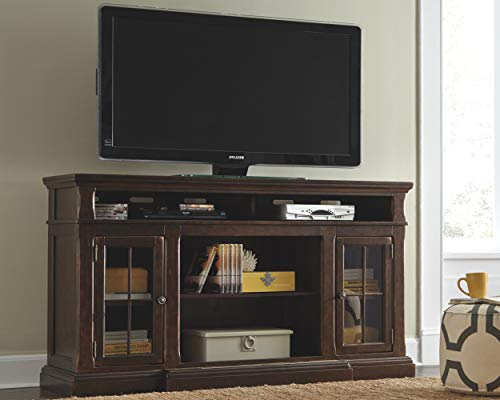 Signature Design by Ashley Roddinton Extra Large TV Stand with Fireplace Option Dark Brown