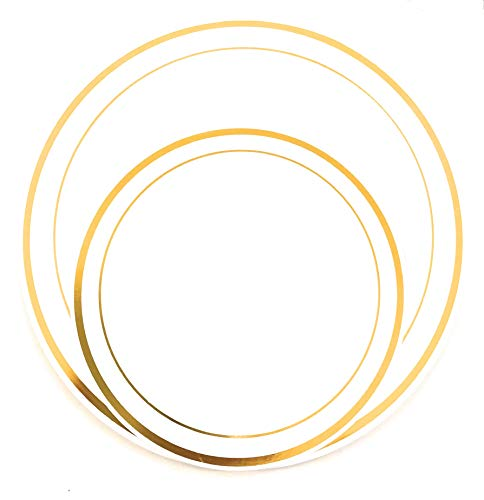 - 100 Pieces White with Gold Rim Plastic Plates Disposable Gold Plates, Party, Wedding, Heavy Duty Premium 50 Dinner Plates 10.25 Inches, and 50 Salad Plates 7.5 Inches Combo (100 Piece Set Gold Plates)
