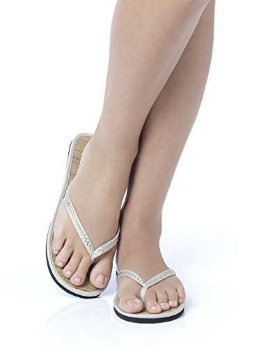 Women's Crystal Accented Matte Satin Sparkle Flip Flop by Dessy - Oyster - Size 5/6 (Accented Matte)