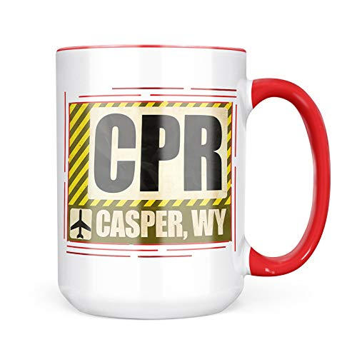 Neonblond Custom Coffee Mug Airportcode CPR Casper, WY 15oz Personalized Name