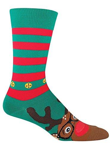 Socksmith Men's Rudolphster Crew Socks (Mens Christmas Socks)