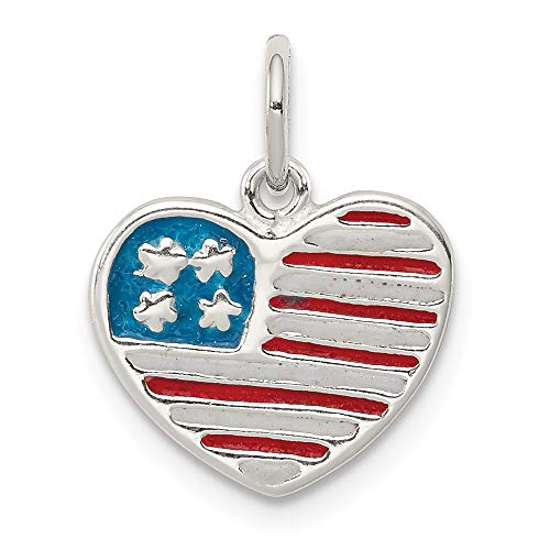 925 Sterling Silver Enamel American Flag Heart Pendant Charm Necklace Patriotic Love Ful Fine Jewelry Gifts For Women For Her