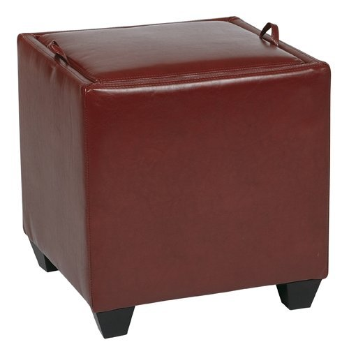 Office Star Metro Storage Ottoman with Tray Crimson Red For Sale