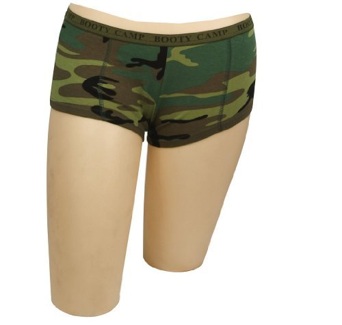 Womens Boy Shorts - Booty Camp Booty Shorts, Woodland Camo, Small by Rothco