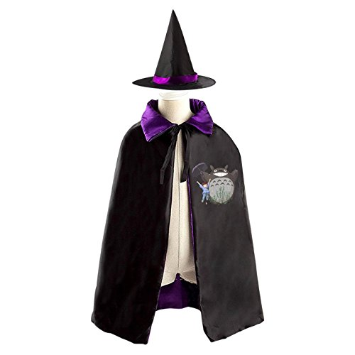 Totoro Mei Costume (Halloween Totoro Wizard Witch Kids Childrens' Cape With Hat Party Costume Cloak purple)