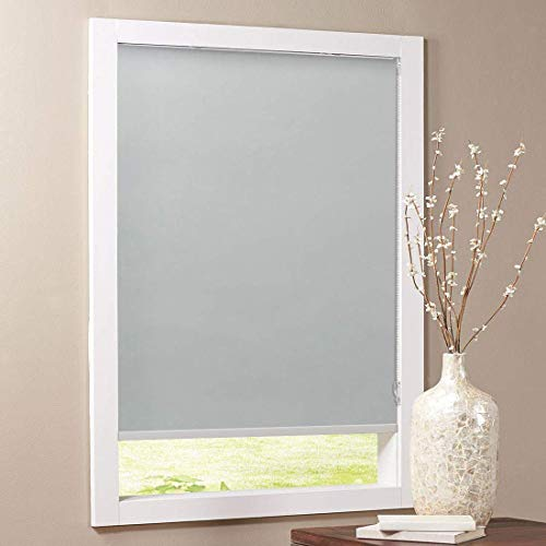 Keego Blackout Bathroom Roller Window Shades, Custom Made Oil Proof Waterproof an-ti UV Kitchen Blinds[Gray 100% Blackout,29″ W x 40″ H(Inch)]