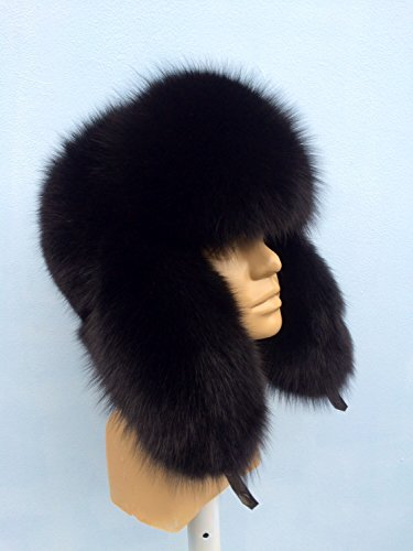 (Blue Fox Fur Full Ushanka Hat Black Color Saga Furs Men's)