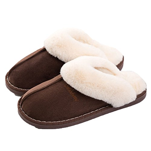 Frauen Männer Haus Hausschuhe Weiche Fluffy Slip Auf Memory Foam Clog Weiche Innen Outdoor Slipper für Winter Kaffee