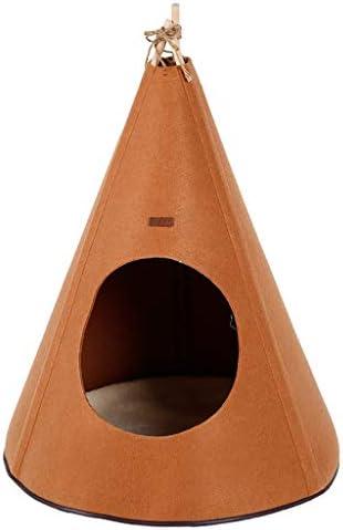 ペットベット ペットテントネストケンネルキャットリッターユートガーデンソリッドウッド折り畳み式暖かいキャットハウス犬の家 ベッド・ソファ SHANCL (Color : Brown)
