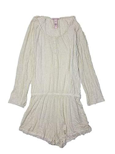 Victoria's Secret Pajamas Ribbed One-Piece Sleep Romper (Cream, Small)