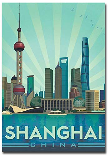 Shanghai China Travel Vintage Art Refrigerator Magnet Size 2.5