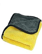 فوطة من الياف الميكروفيبر لتنظيف السيارات و التابلوه للسيارة لون اصفر
