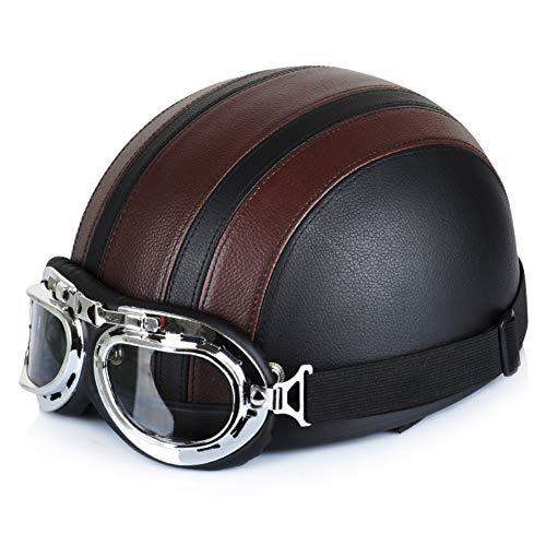 Forart Men Women Motorcycle Helmet Open Face Bike Bicycle Helmet Scooter Half Leather Helmet with Visor Goggles