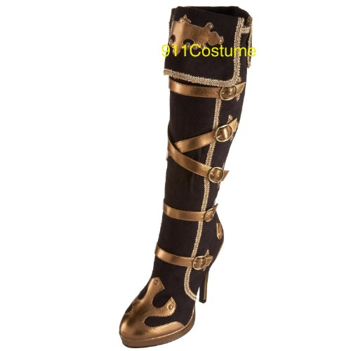2012 (9) Sexy Pirate Boots Anna Blk & Gold Sexy Pirate Costume Boot Sexy Carnival (Pirate Wench Boots)