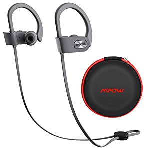 Mpow D7 Bluetooth Headphones Sport, 10H Playtime & IPX7 Waterproof Wireless Headphones Sport Earbuds W/Bass Stereo Sound, Running Headphones Bluetooth Earphones W/CVC 6.0 Noise Cancelling Mic,Yellow