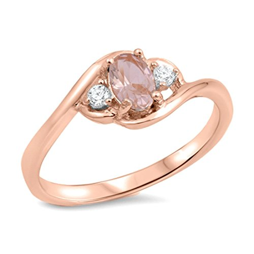Fashion 3-Stone Ring Oval Simulated Morganite Rose Gold Plated 925 Sterling Silver, Size-9
