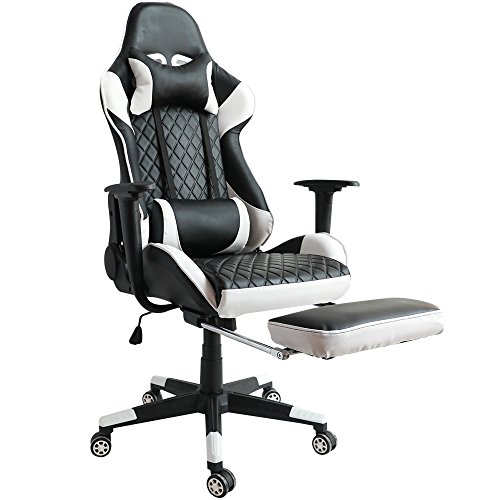 Kinsal Ergonomic High-back Large Size Gaming Chair with Massage Function, Office Desk Chair Swivel Black PC Gaming Chair with Extra Soft Headrest, Lumbar Support and Retractible Footrest (White) by Kinsal