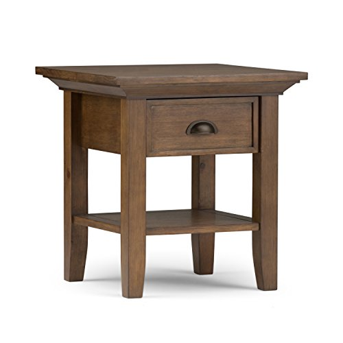 - Simpli Home 3AXCADM-02 Redmond Solid Wood 19 inch wide Square Rustic End Side Table in Rustic Natural Aged Brown