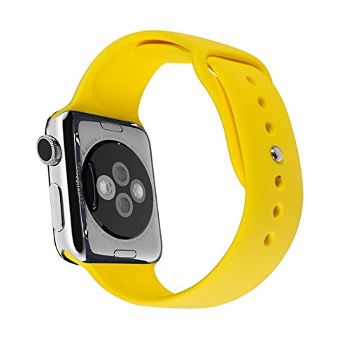 WESHOT Apple Watch Band, Silicone Soft Replacement Watch Band Strap For Apple Watch Sport Edition 38MM Yellow S/M by WESHOT (Image #2)