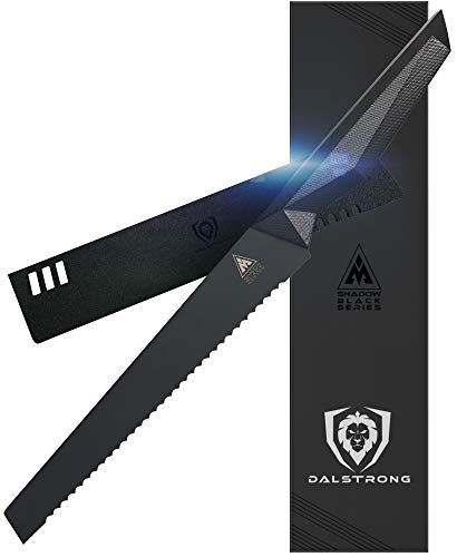 DALSTRONG - 9' Bread Knife - Shadow Black Series - Black Titanium Nitride Coated German HC Steel - Sheath - NSF Certified