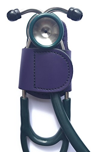 The BATCLIP (purple)  Premium leather handmade clip-on stethoscope hip holder; no more neck carrying, loss, or misplacement. Proudly carry your high-end stethoscope with taste and style.