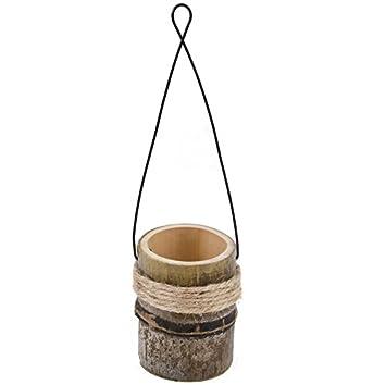 Amazon De Nadeco Bambus Vase Zum Hangen Mit Metallbugel Ca 10x9