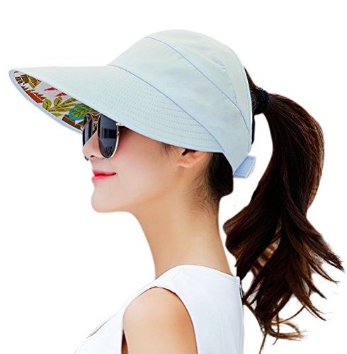 HINDAWI Sun Hats for Women Wide Brim UV Protection Visor Floppy Sports Packable Sun Hat Caps Sky Blue ()
