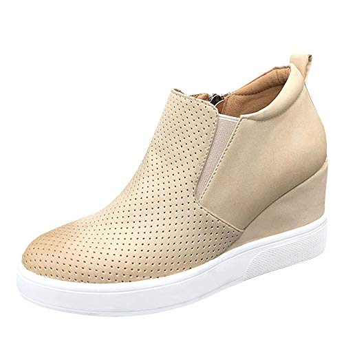 Nailyhome Womens Sneakers Wedges High Top Side Zipper Slip On Platform Sneakers (9.5 B(M) US-EU Size40, Y-Light Khaki)