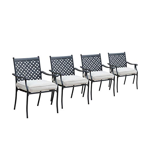 LOKATSE HOME 4 Piece Outdoor Patio Metal Wrought Iron Dining Chair Set with Arms and Seat Cushions – White