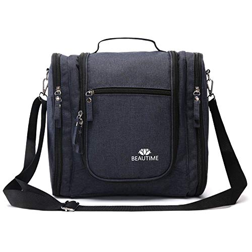 Large-Hanging-Travel-Toiletry-Bag-for-Men-and-Women-Waterproof-Makeup-Organizer-Bags-wash-bag-Shaving-Kit-Cosmetic-Bag-for-Accessories-ShampooBathroom-Shower-Personal-Items-BlueBlack