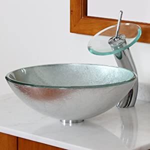 ELITE Modern Tempered Bathroom Glass Vessel Sink With Silver Wrinkles  Pattern U0026 Chrome Waterfall Faucet Combo