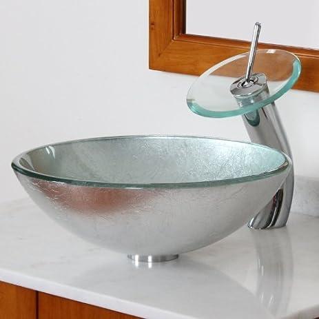ELITE Modern Tempered Bathroom Glass Vessel Sink With Silver ...