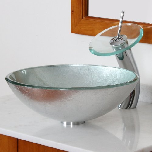 ELITE Modern Tempered Bathroom Glass Vessel Sink With Silver Wrinkles Pattern & Chrome Waterfall Faucet Combo