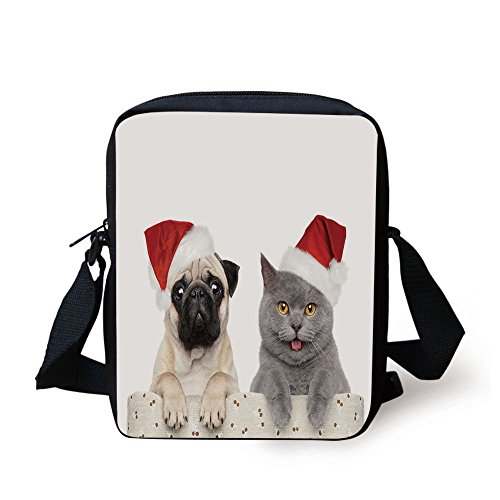 Price comparison product image IPrint Pug, Christmas Themed Animal Photography with a Cat and Dog Wearing Santa Hats Print Decorative, Grey Cream Red Print Kids Crossbody Messenger Bag Purse