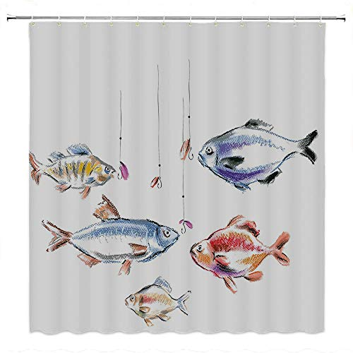 Master Bream - SATVSHOP Fabric Bathroom Decor Set with Hooks-for Master, Kid's, Guest Bathroom-Fishing etro Fishing Love Quote with Goldfish Herring Bream Bass Salmon Figur Image .W54 x L72 inch