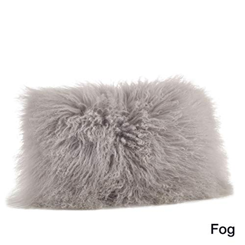 1 Piece Fog Grey Solid Pattern Mongolian Lamb Fur Plush Lumbar Pillow, Elegance Fluffy Touch Texture Design, Glam Luxury Soft & Comfy Decorative Rectangle Cushion, Knife Edged Borders, Polyester Wool ()
