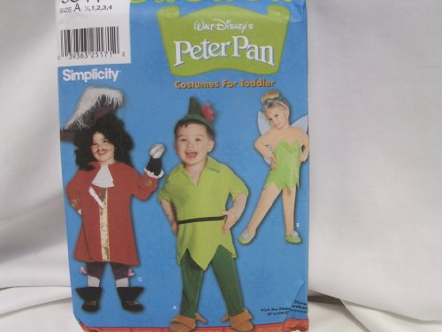 Captain Hook Costume Pattern (Peter Pan Tinkerbelle Captain Hook Pirate Halloween Costume Sewing Pattern 9844 Toddler Size A 1/2, 1,2,3,4)