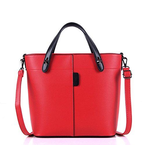 Yueer Fashion Handbags Europe And America Big Bags Solid Color Pu Ladies Shoulder Bags Messenger Bags, Brown Network