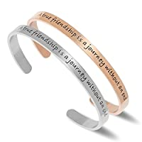 """NewChiChi Cuff Bracelet Engraved""""A True Friendship is a Journey Without an End""""Inspirational Jewelry"""