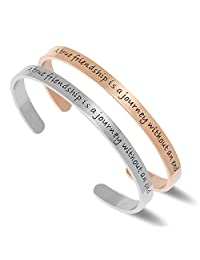 NewChiChi Cuff Bracelet Engraved A True Friendship is a Journey Without an End Inspirational Jewelry