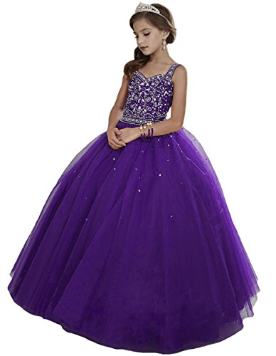HuaMei Girls Princess Tulle Beaded Straps Ball Gowns Flower Girl Pageant Dresses 12 US Purple