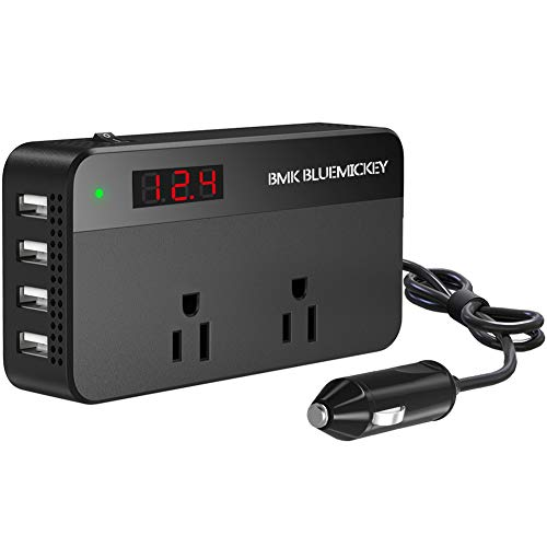 BMK 200W Car Power Inverter DC 12V to 110V AC DC Adapter 4 USB Ports Charger Adapter Car Plug Converter with Switch and Current LCD Screen