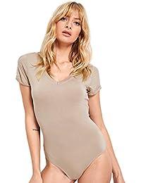 0561713a3e Women s Short Sleeve Tops Basic V-Neck Leotard Bodysuit Jumpsuit